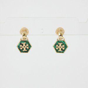 Tory Burch Hex Semi-Precious Stone Drop Earrings